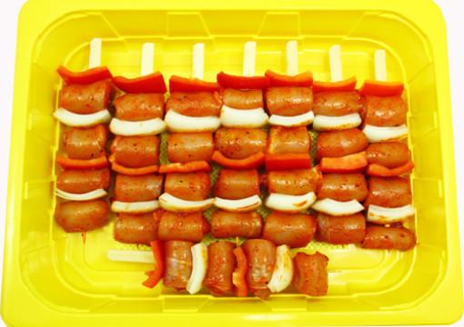 Gockel Schaschlik mit Paprika und Zwiebeln Art.-Nr.: 306051   1,5kg